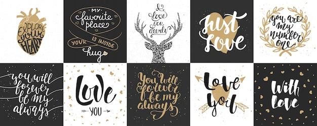 Conjunto de romântico e amor mão desenhada letras
