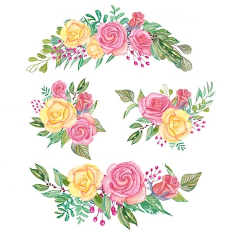 Conjunto de rosa rosa e amarelo aquarela arranjo floral e buquê