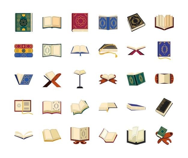Conjunto de rosário de livros sagrados islâmicos
