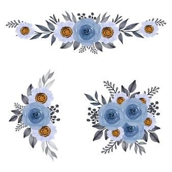 Conjunto de rosas azuis e moldura em aquarela de flor branca
