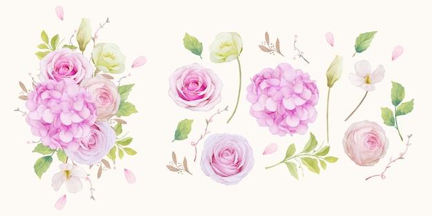 Conjunto de rosas cor de rosa e flor de hortênsia azul
