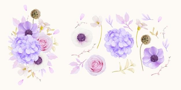 Conjunto de rosas cor de rosa em aquarela