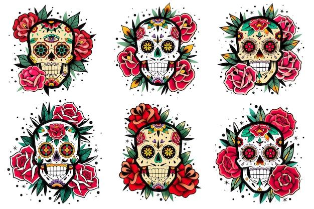 Conjunto de rosas da velha escola com caveira mexicana