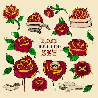 Conjunto de rosas de tatuagem