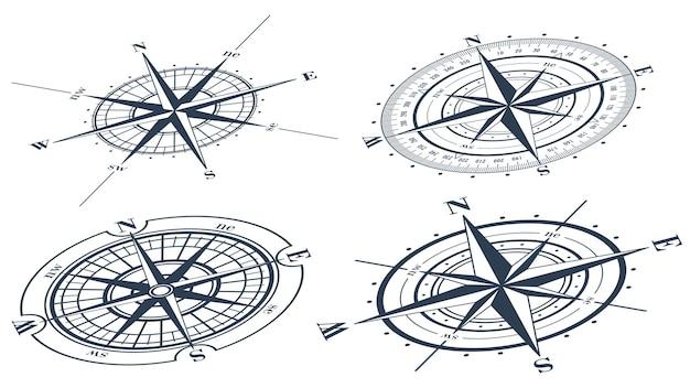 Conjunto de rosas dos ventos (windroses). ilustração vetorial.