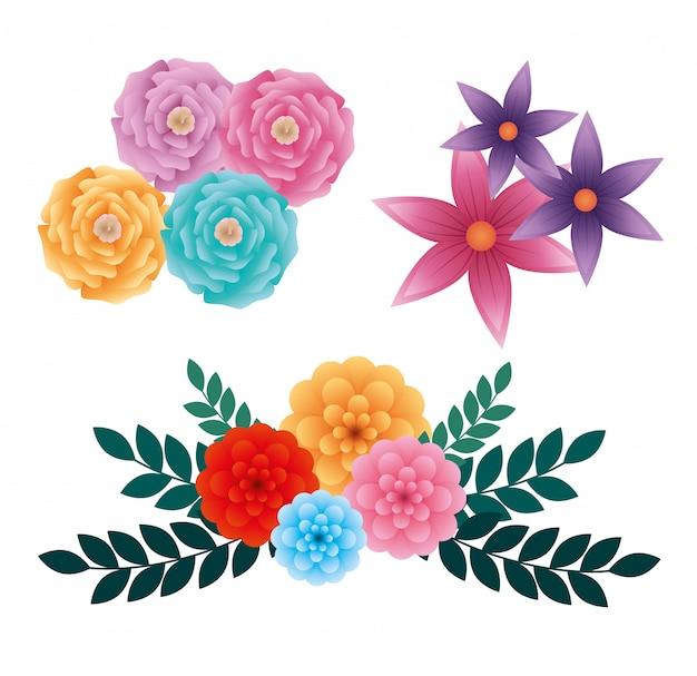 Conjunto de rosas e flores exóticas com folhas