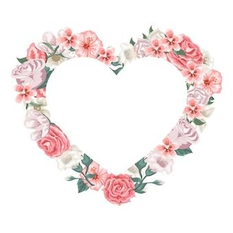 Conjunto de rosas e flores, formando um coração