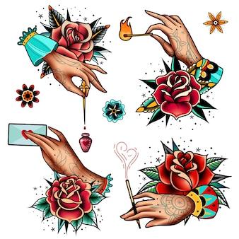Conjunto de rosas e mãos de tatuagem da velha escola