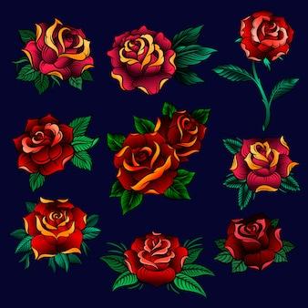 Conjunto de rosas vermelhas com folhas verdes, ilustrações florais sobre um fundo azul escuro