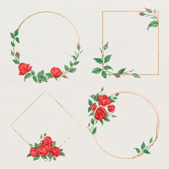 Conjunto de rosas vermelhas com moldura dourada