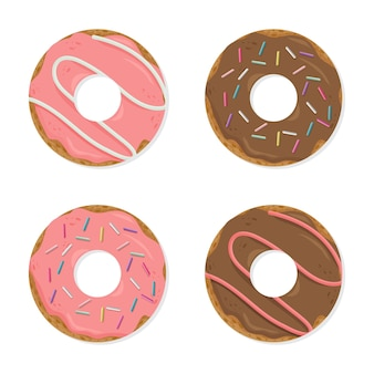 Conjunto de rosquinhas coloridas de desenho animado isolado no fundo branco
