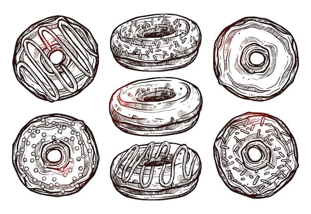 Conjunto de rosquinhas em estilo de esboço