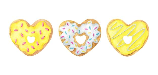 Conjunto de rosquinhas em forma de coração fofo com glacê amarelo