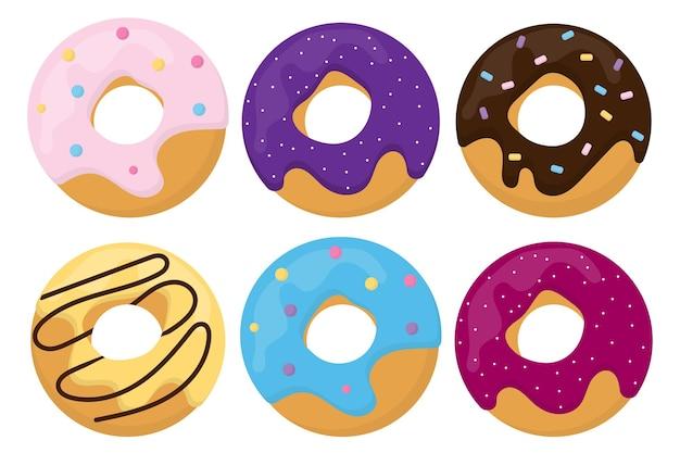 Conjunto de rosquinhas vitrificadas ícones de rosquinhas rosquinhas saborosas e brilhantes