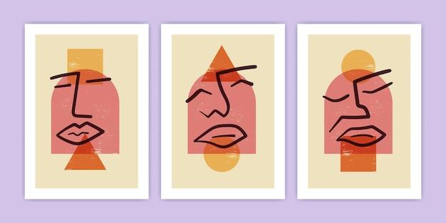 Conjunto de rosto abstrato com ilustração de forma geométrica