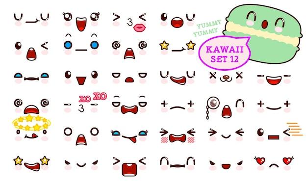 Conjunto de rosto bonito emoticon kawaii e doce macaron kawaii