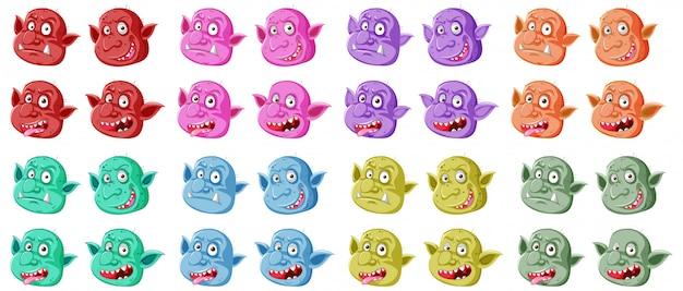 Conjunto de rosto colorido goblin ou troll em diferentes expressões em estilo cartoon, isolado
