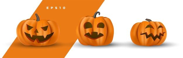 Conjunto de rosto de abóbora esculpida de halloween bonito decorativo isolado