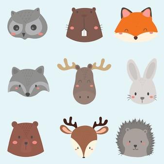 Conjunto de rosto de animais fofo da floresta.