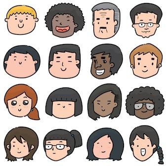 Conjunto de rosto de desenho animado