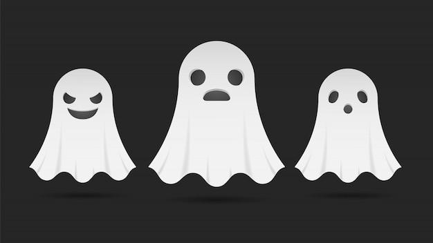 Conjunto de rosto de expressão de fantasmas assustadores