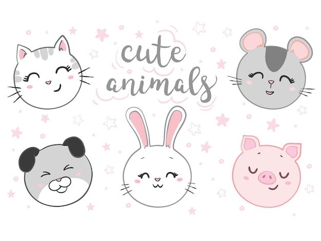 Conjunto de rosto de gato, rato, cachorro, coelho, porco. animal kawaii. personagem de desenho bonito.