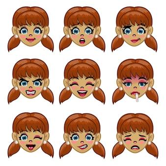 Conjunto de rosto de menina com várias expressões faciais em desenho animado