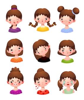 Conjunto de rosto de meninas pequenas com ilustração de diferentes expressões