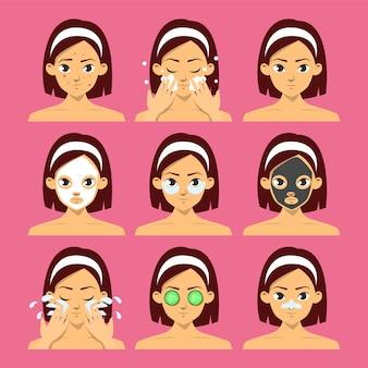 Conjunto de rosto de mulher com diferentes tipos de máscara facial. máscara de pepino, procedimento de hidratação. higiene da pele, máscara de argila e lençol para beleza. Vetor Premium