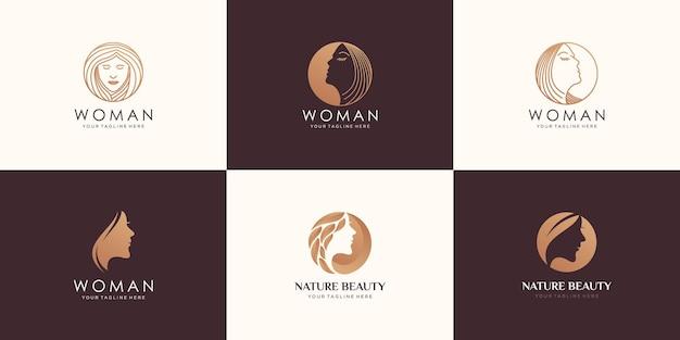Conjunto de rosto de mulher de beleza e design de logotipo de salão de cabeleireiro