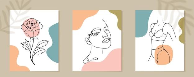 Conjunto de rosto de mulher e arte de linha contínua de flores