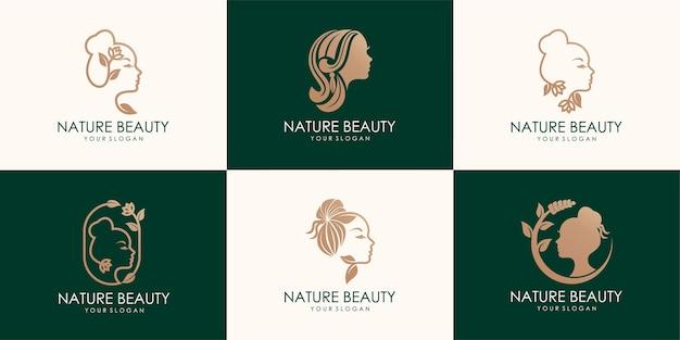 Conjunto de rosto de mulher em folhas de flores. conceito de design abstrato para salão de beleza