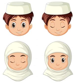 Conjunto de rosto diferente do árabe em roupas tradicionais