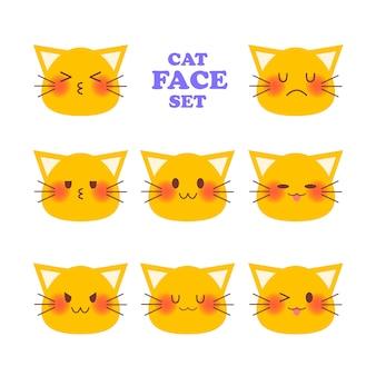 Conjunto de rosto emocional do gato. ilustração plana