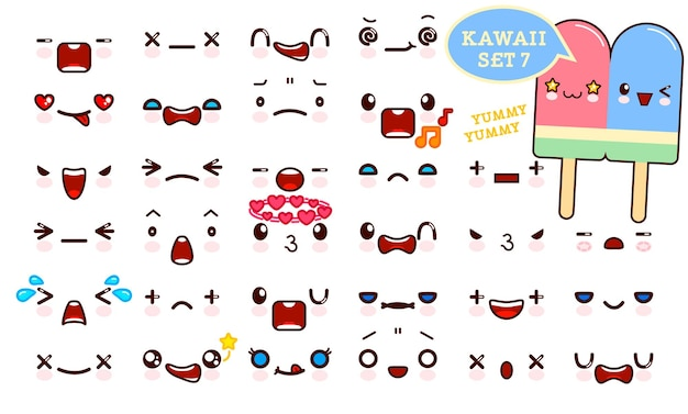 Conjunto de rosto emoticon fofo kawaii e casal doce sorvete kawaii.