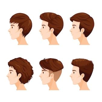 Conjunto de rosto masculino com diferentes estilos de cabelo