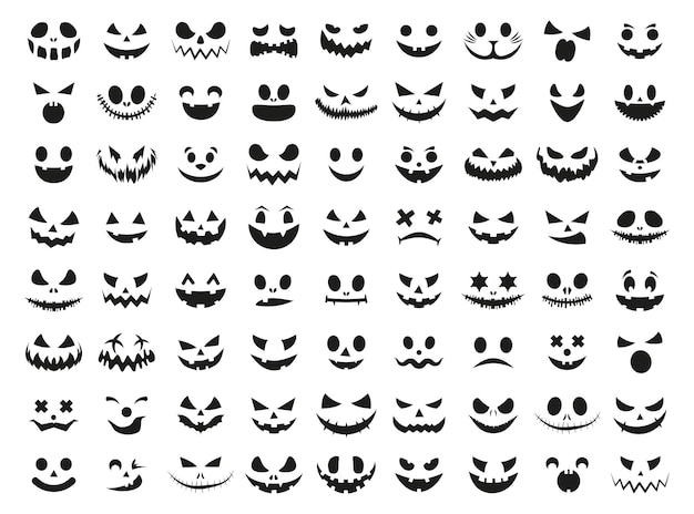 Conjunto de rosto sorridente de halloween preto abóboras assustadoras pretas design para o feriado de halloween