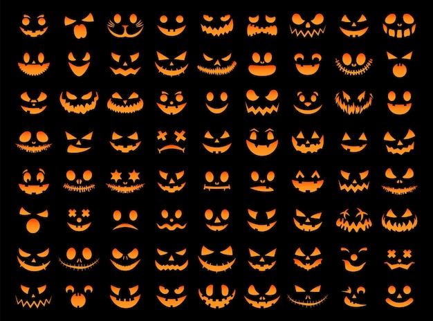 Conjunto de rosto sorridente laranja de halloween abóboras assustadoras pretas design para o feriado de halloween