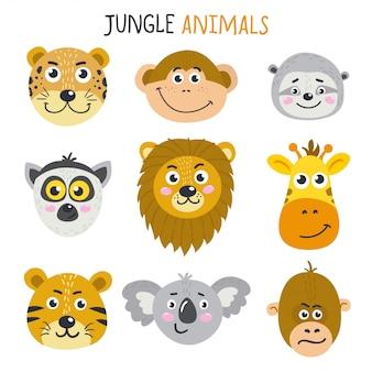 Conjunto de rostos bonitos de animais