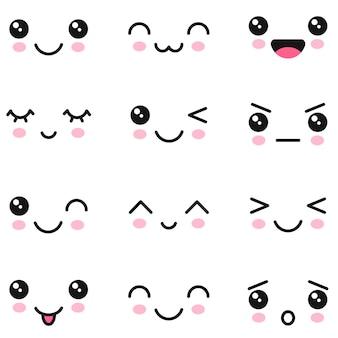 Conjunto de rostos bonitos de kawaii