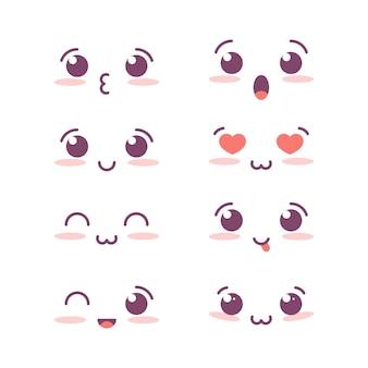 Conjunto de rostos bonitos no estilo kawaii