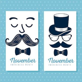 Conjunto de rostos com bigode e gravata borboleta cartão