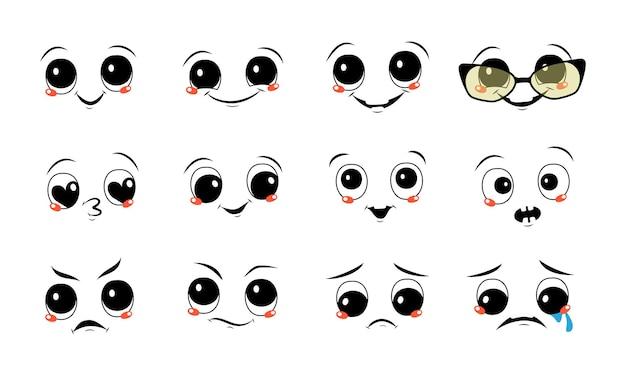 Conjunto de rostos com emoções diferentes. sorrisos alegres e tristes, lágrimas e felicidade, olhos zangados, desconfiados ou carrancudos.