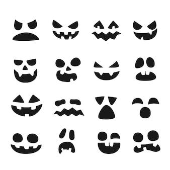 Conjunto de rostos de abóbora