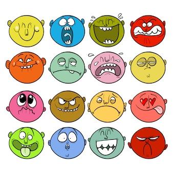 Conjunto de rostos de adesivo com emoções diferentes