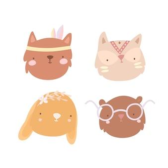 Conjunto de rostos de animais boho