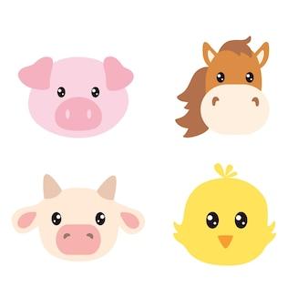 Conjunto de rostos de animais de fazenda fofos