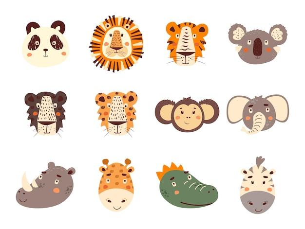 Conjunto de rostos de animais fofos de safári