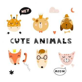 Conjunto de rostos de animais fofos e elementos decorativos.