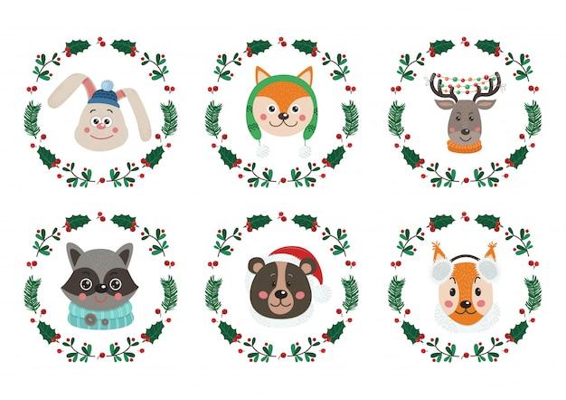 Conjunto de rostos de animais fofos para o natal